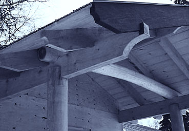 Picture showing the post and beam detailing of the front entrance of the guesthouse